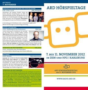 ARD HÖRSPIELTAGE 7. bis 11. novEmbER 2012 in ... - Kindernetz