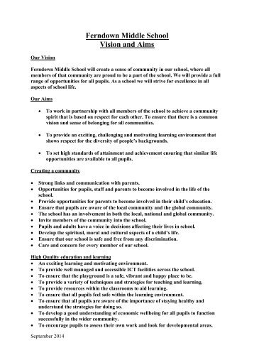 Vision and Aims - Ferndown Middle School