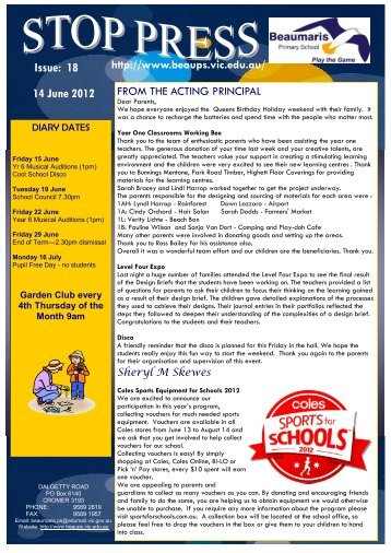 Issue: 18 14 June 2012 - Beaumaris Primary School