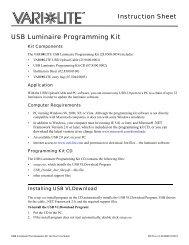Instruction Sheet USB Luminaire Programming Kit - Vari-Lite