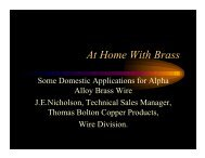 Some Domestic Applications for Alpha Alloy Brass Wire