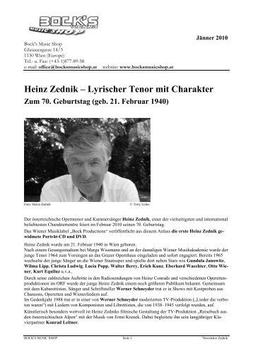 Heinz Zednik – Lyrischer Tenor mit Charakter - Bock's Music Shop