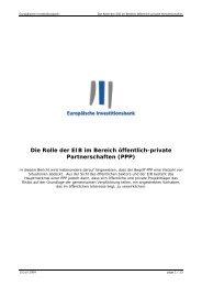 Die Rolle der EIB im Bereich öffentlich-private Partnerschaften (PPP)