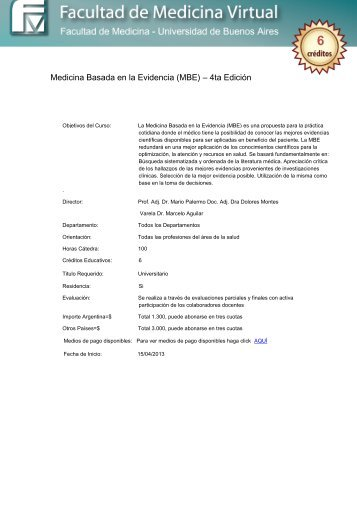 Medicina Basada en la Evidencia (MBE) – 4ta Edición - FMV