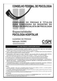 Psicologia Hospitalar - Conselho Federal de Psicologia