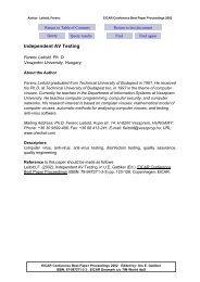 Independent AV Testing - of Ph.D Ferenc Leitold