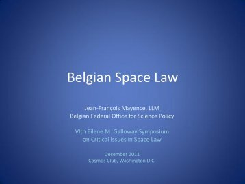 Belgian Space Law - International Institute of Space Law