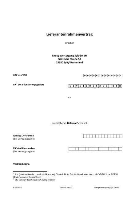 Lieferantenrahmenvertrag - EVS