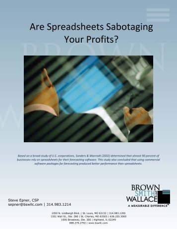 Are Spreadsheets Sabotaging Your Profits? - Brown Smith Wallace