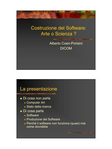 Costruzione del Software - Dipartimento di Informatica e ...