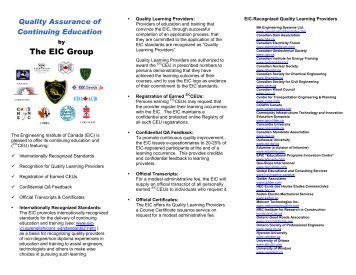 The EIC Group - CSCE • Canadian Society for Civil Engineering