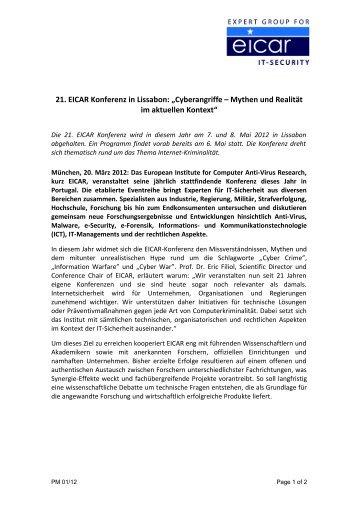 """21. EICAR Konferenz in Lissabon: """"Cyberangriffe – Mythen und ..."""