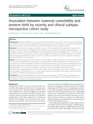 Association between maternal comorbidity and preterm birth by ...