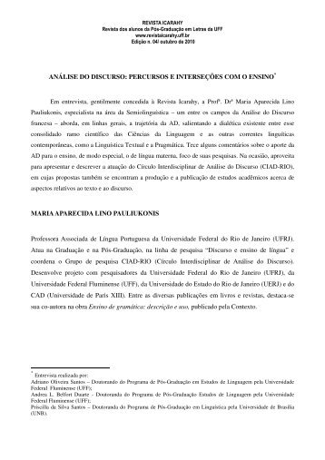 ANÁLISE DO DISCURSO - revista Icarahy - UFF