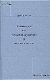 MEMORANDUM AND ARTICLES OF ASSOCIATION - Fletcher King