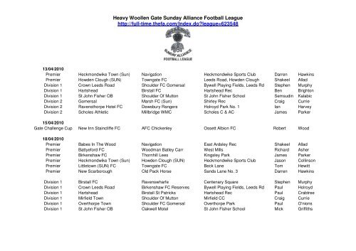 Heavy Woollen Gate Sunday Alliance Football League http://full-time ...