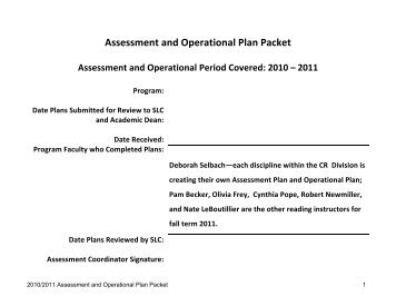 2010-2011 CR Assessment and Operational Plan (1)