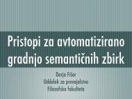 Darja Fišer Oddelek za prevajalstvo Filozofska fakulteta - Lugos