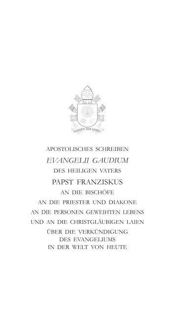 Apostolisches Schreiben 'Evangelii gaudium', Papst Franziskus