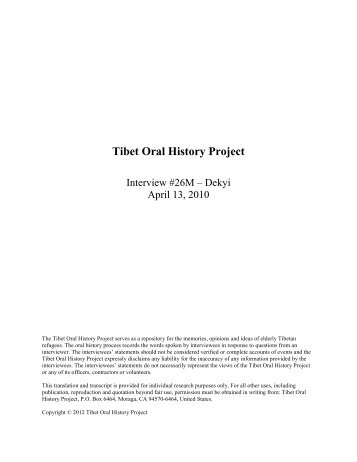 Read the Interview - Tibet Oral History Project