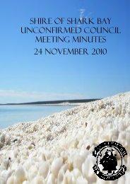 Minutes 24-11-10 - Shire of Shark Bay - The Western Australian ...