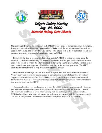 Safety Tailgate meeting guide - CLSA