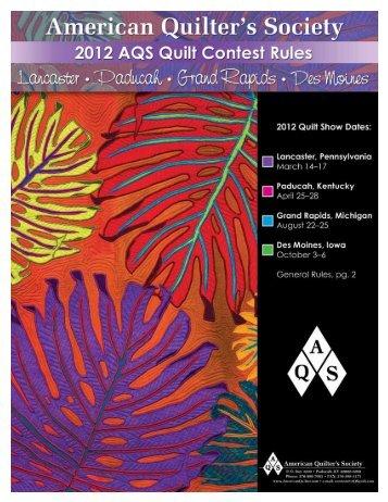 "General Quilt Contest Rules - AQS QuiltWeekâ""¢ American Quilter's ... : michigan quilt shows - Adamdwight.com"