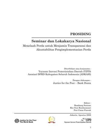Seminar Dan Lokakarya Nasional : Menelaah perda ... - psflibrary.org