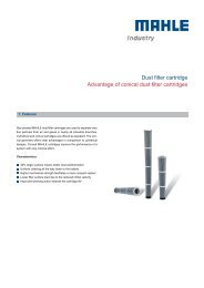 Advantage of conical dust filter cartridges - MAHLE Industry - Filtration