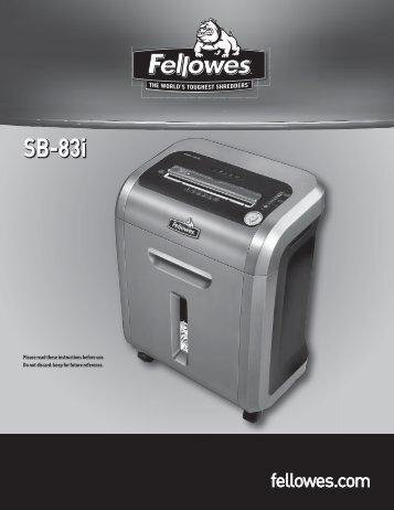 Download free pdf for fellowes sb-87cs shredders other manual.