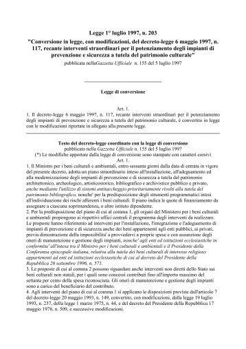 """Legge 1° luglio 1997, n. 203 """"Conversione in legge, con ..."""