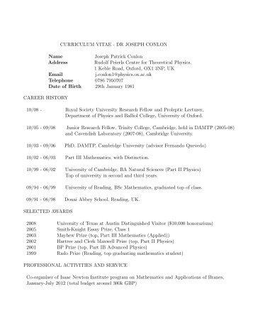 CURRICULUM VITAE - DR JOSEPH CONLON Name Joseph ...