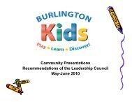 PowerPoint Presentation on Burlington Kids - Burlington Parks and ...