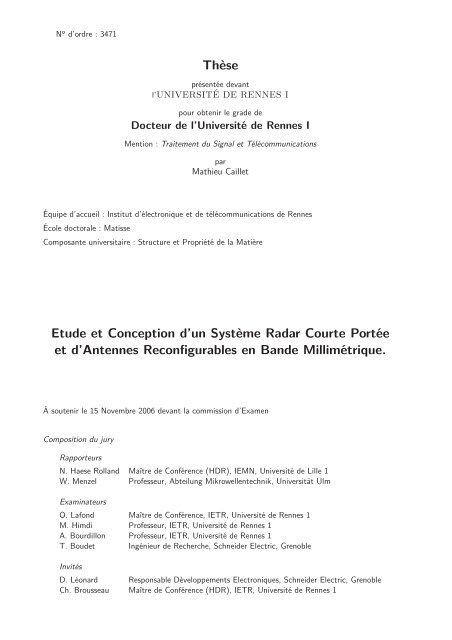 Thèse Etude et Conception d'un Système Radar Courte ... - IETR