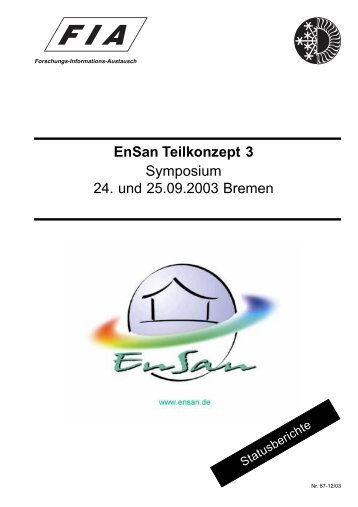 EnSan Teilkonzept 3 Symposium 24. und 25.09.2003 Bremen