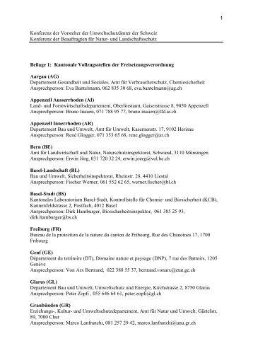 1 Konferenz der Vorsteher der Umweltschutzämter ... - KVU - Extranet