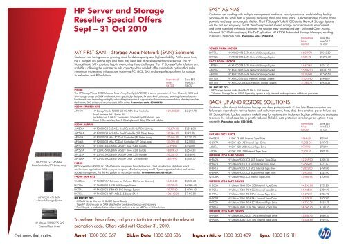 HP Server and Storage Reseller Special Offers Sept – 31