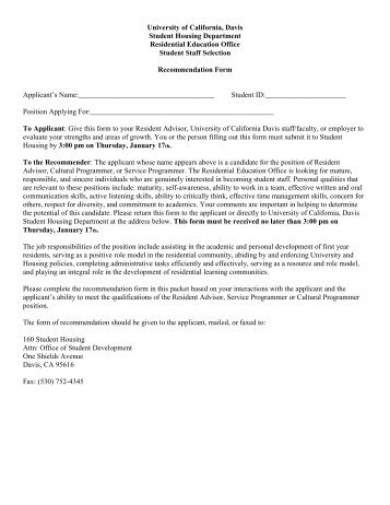 Letter Of Recommendation Form   UC Davis Student Housing