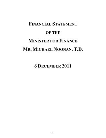 Financial Statement of the Minister for Finance Mr ... - Budget 2013
