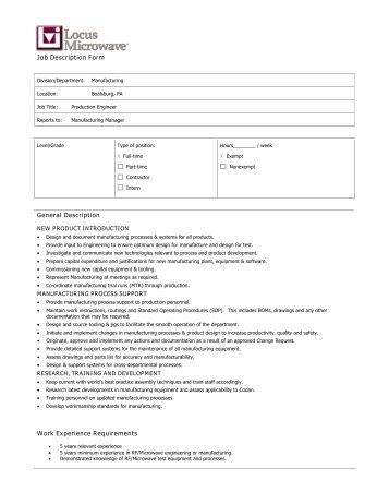 Job Description Form General Description Work Experience ... - Codan