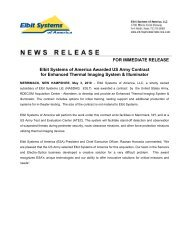 FOR IMMEDIATE RELEASE Elbit Systems of America Awarded US ...