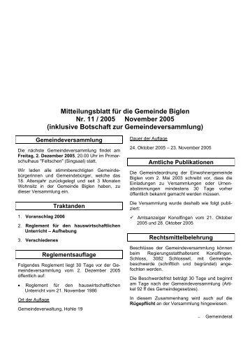 Mitteilungsblatt für die Gemeinde Biglen Nr. 11 / 2005 November ...