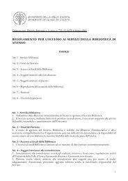Regolamento biblioteca 08.02.06 - Università della Valle d'Aosta