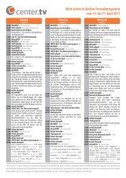 Mein center.tv Aachen Fernsehprogramm vom 11. bis 17. April 2011