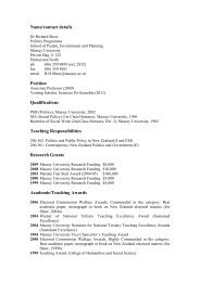 Name/contact details Position Qualifications ... - Massey University