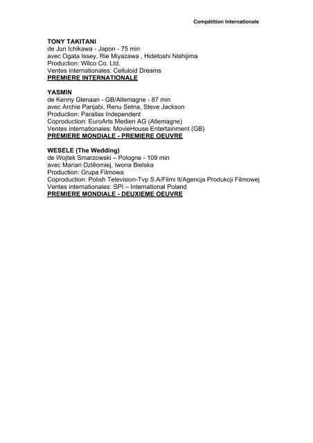 competition internationale - Locarno Film Festival
