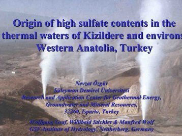 Origin of high sulfate contents in the thermal waters of Kizildere and ...