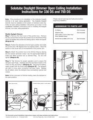 Solatube Daylight Dimmer Open Ceiling Installation Instructions for ...