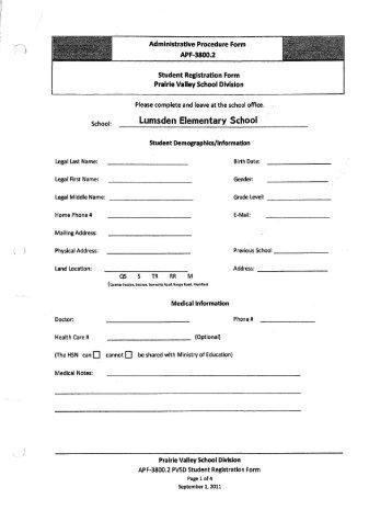 Lumsden Elementary School - Prairie Valley School Division