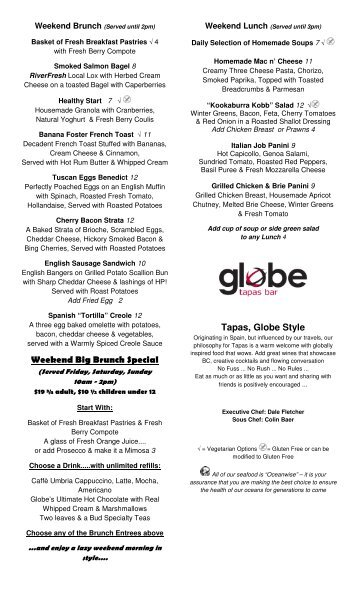Globe Cafe Breakfast - Lunch Menu - MainMenus.com